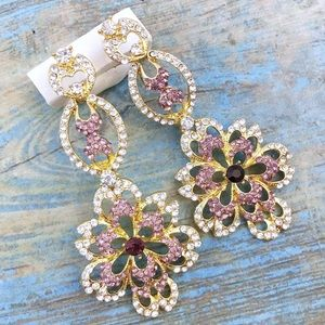 Cherryl's Jewelry - Pink Crystal Chandelier Event Earrings